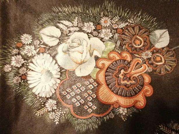 Material jerse subtire imprimat fond gri inchis cu flori colorate