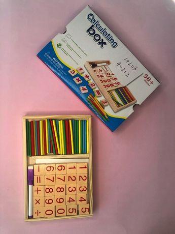 Детская деревянная считалка Calculating box. Математическая доска