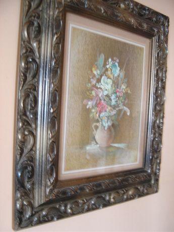 Tablou vechi romanesc,semnat,pictura flori