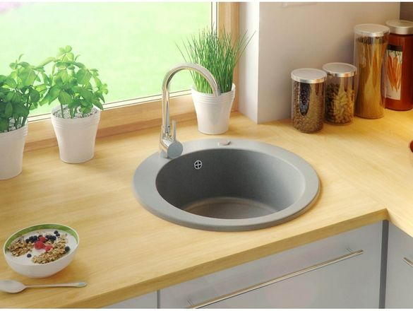 Гранитна Мивка за Кухня кръгла Женева Антибактериална Кухненска мивка
