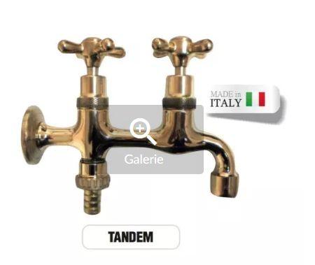 Robinet dublu din bronz masiv gradina/cismea/fantanita made Italy