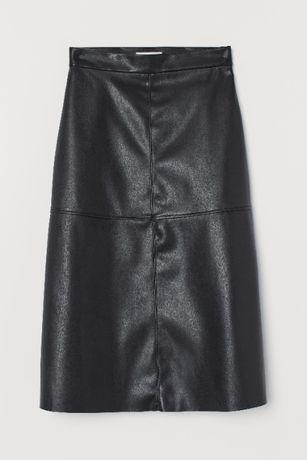 Кожена пола с трапецовидна кройка H&M