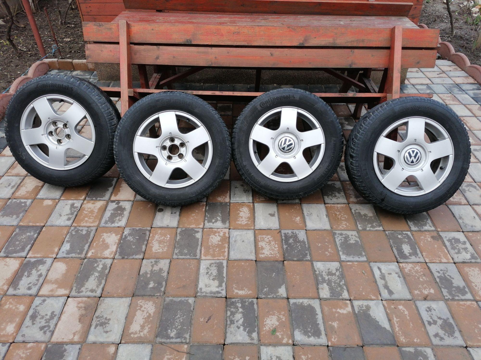Jante din aluminiu 195/65/R15 gauri5X100 cu anvelope Continental iarnă