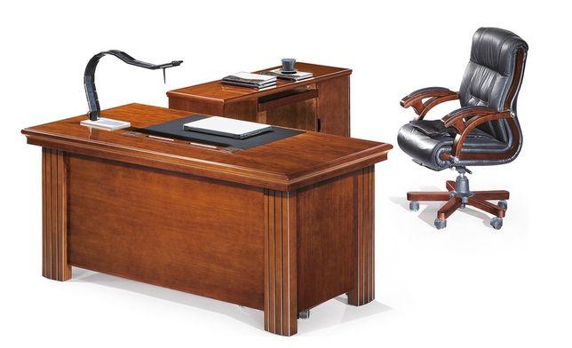 Birou directorial din 3 corpuri, furnir natural lemn, piele 160cm !