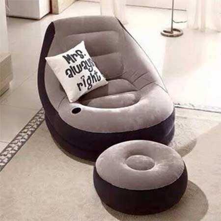 Надуваеми, кресло,фотьойл барбарон и пуф табуретка велур Intex, 99х130