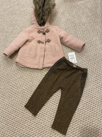 Palton Zara, culoare roz-plamaniu, pt fetite. Marimea 92
