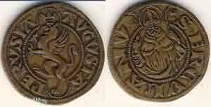 Moneda romana AUGUSTA PERUSIA anul 1500