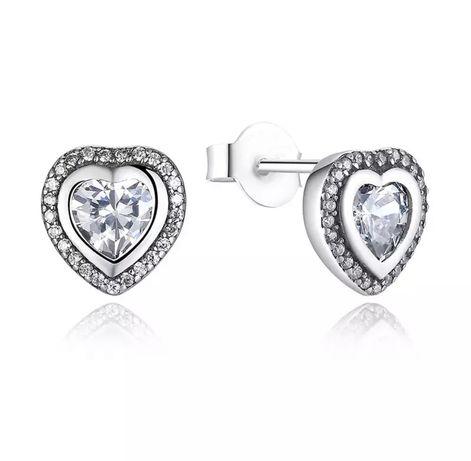 Cercei Inima Inimi Argint 925 stil Pandora cristale swarovski pietre
