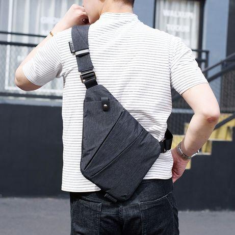 Мъжка спортно-елегантна текстилна чанта за през рамо DXYZ 31x27x19x17