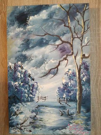 Pictura ulei / lemn, peisaj iarna