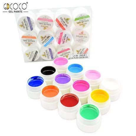 GD COCO Комплект 12 цвята плътен ув/лед гел за маникюр