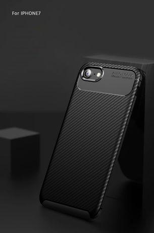 Iphone 6 6S 7 8 SE 2020 - Husa Carbon Din Silicon Culoare Neagra