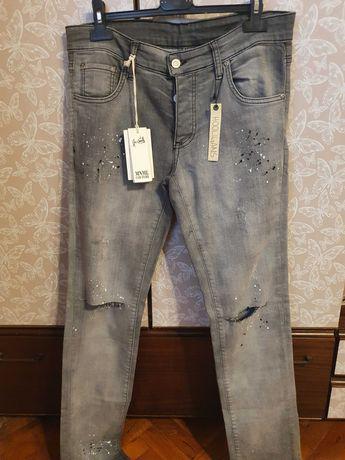 Мъжки сиви дънки с етикет