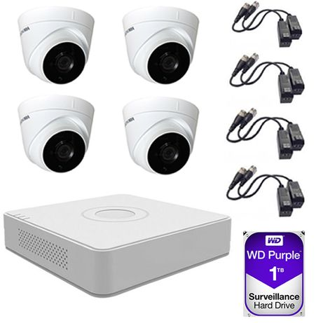 Sistem supraveghere 4 camere 2MP Hikvision FullHD 1TB HDD 8 mufe video