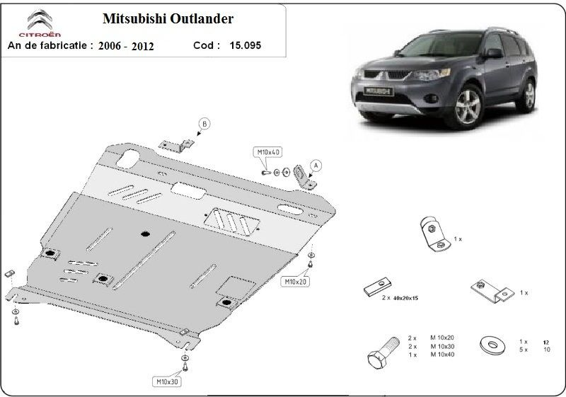 Scut motor metalic pentru Mitsubishi Outlander 2002-prezent otel 2.5mm Bucuresti - imagine 1