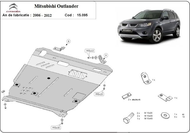 Scut motor metalic pentru Mitsubishi Outlander 2002-prezent otel 2.5mm