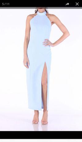 rochie  TGH Fashion bleu pe gat