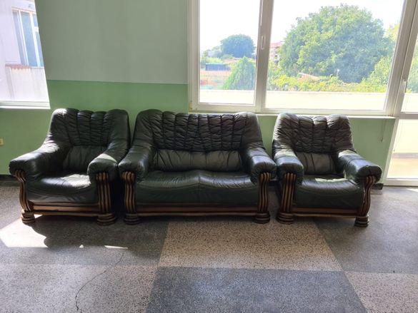 Зелен кожен диван двойка с два фотьойла - естествена кожа