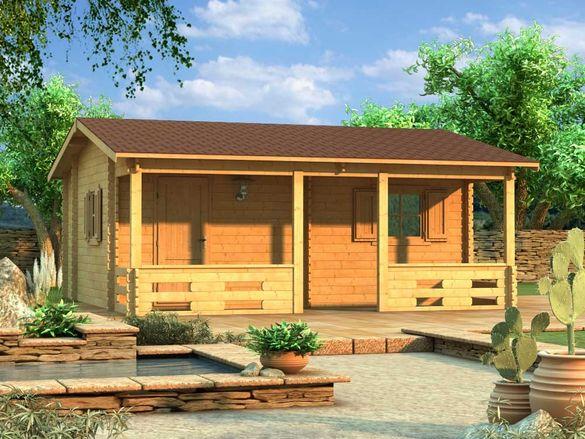 Сглобяеми дървени преместваеми къщи масив 32м2 - дървени бунгала масив