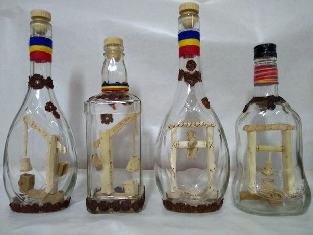 Sticle artizanale cu sculptura interioara pt palinca. Maramures Cadou