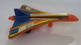 Стара играчка самолет ТУ 144 ламарина пласмаса Соц СССР