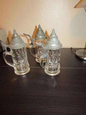 Lot de 3 halbe de sticla cu capac inalt