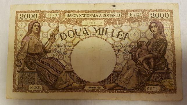 Vand Doua bancnote vechi din anii 1943 de 20 lei si 2000 lei pret fix