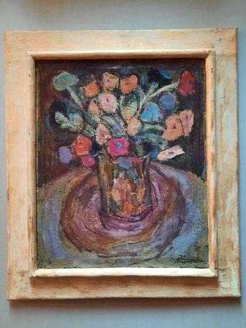 "Tablou""Flori"" Petrea Sandu (n 1913 - d ?),u/p."