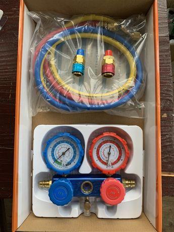Kit baterie manometre freon r134a auto clima cuple furtun incluse nou