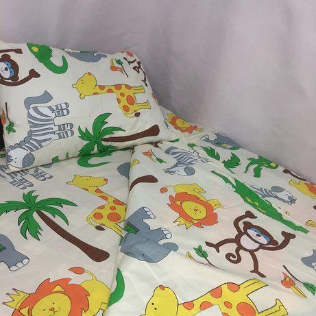 Детский комплект постельного белья Зоопарк ручной пошив