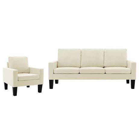 vidaXL Set de canapele, 2 piese, crem, piele ecologică 3056673