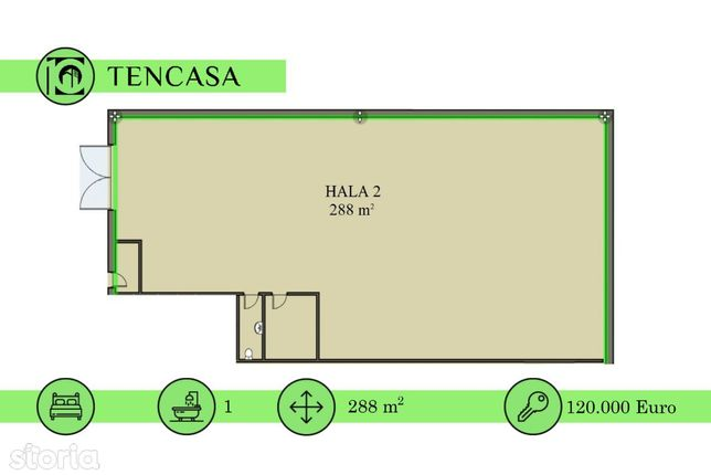 Hala / Spatiu comercial industrial 288 mp.