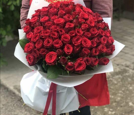 51 роза- 14 999тг, 101 роза 24999тг цветы Алматы с круглосуто доставко