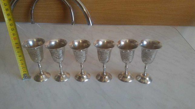 Set 6 pahare alama argintate marcate si incrustate 40 ml