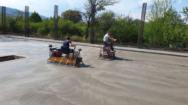 Turnare beton finisat sclivisit cu elicopter si cuart gri sau colorat