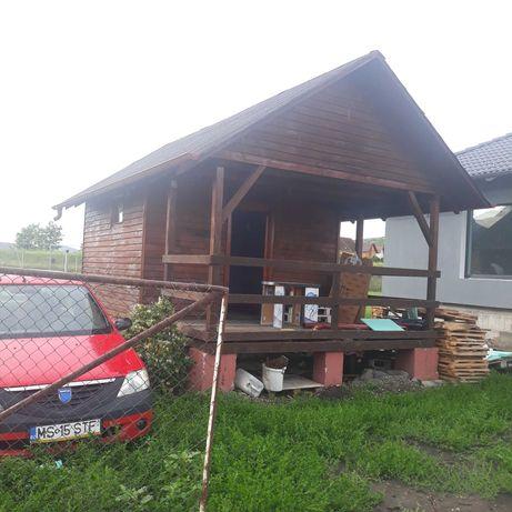 Vand cabana de lemn transportabil 6x4m cu terasa