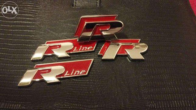 Set Emblema R-line VW Passat/Golf/Tiguan/Polo/Tuareg METAl rosu/crom