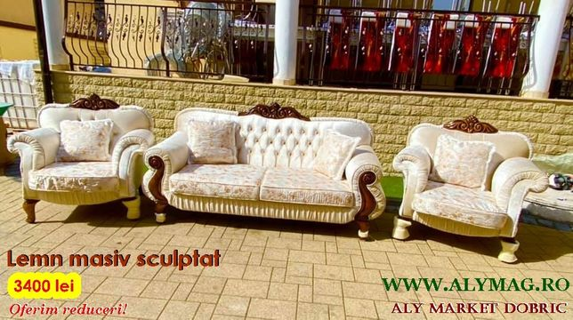 NOI ! Canapea lemn sculptat fotolii birou masa mobila comoda consola