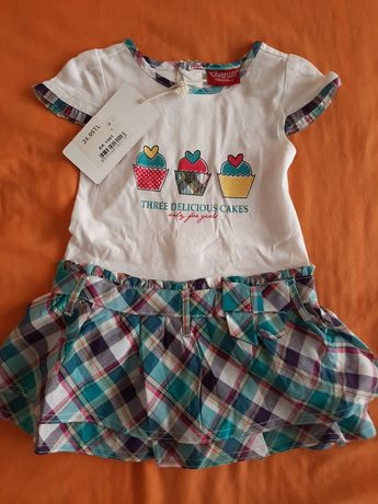 Бебешка лятна рокля 80см, бебешки летен комплект от 2 части 3броя
