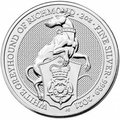 2 oz Сребро Зверовете на Кралицата - Бялата Хрътка от Ричмън