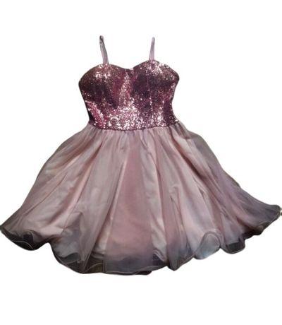 Rochie superba paiete roz scurta tiul tulle bal banchet nunta gen Zara