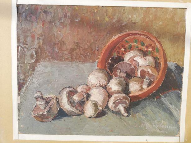 """"""" Ciuperci """", tablou superb, natură statică, Maria Frânculescu, u/c"""