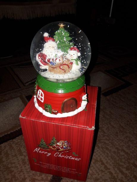 музыкальный шар дед мороз и снегурочка
