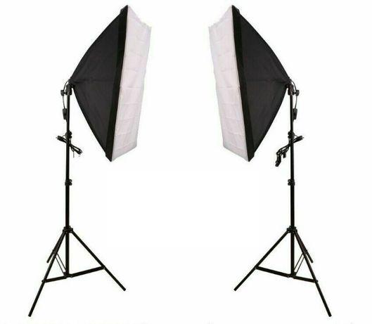 Комплект 2бр. софтбокс 50х70см + стативи => видео осветление 135w