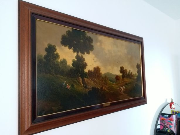 tablou vechi in ulei, semnat pictor italian