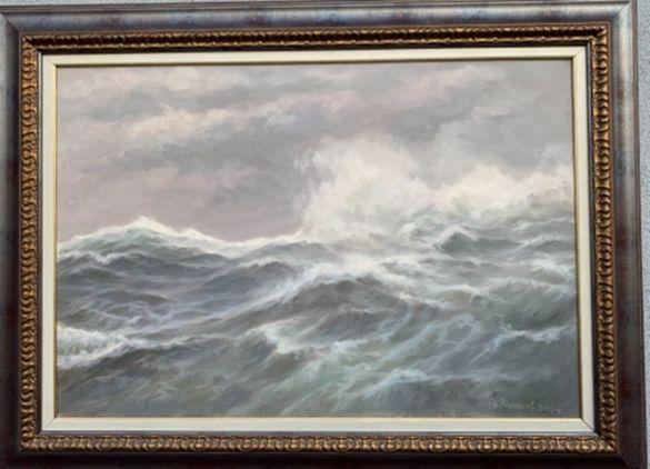 Голяма картина от Анатолий Панагонов (Бурно море край Калиакра)
