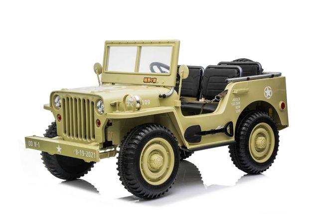Masinuta electrica Jeep USA ARMY 4X4 180W PREMIUM #BEJ
