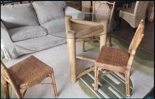 Masa bambus geam securizat cu 4 scaune rachita ratan
