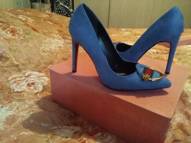 Туфли женские производство Турция замшевые каблук10см