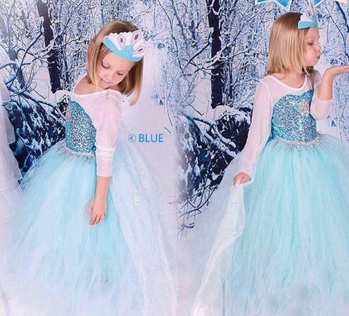 НОВО!Разкошна-лукс рокля на Елза с дълъг шлейф+ подарък КОРОНКА